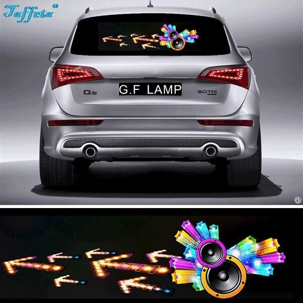 90*25cm Horn Flash Car Sticker Music Rhythm Light LED EL Sheet Lamp Sound Music Activated Equalizer<br>