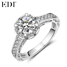 EDI Classic Romantic 1ct Round Cut Diamond Wedding Rings Real 14k White Gold Engagement Bands Fine Jewelry Love Gifts(China)