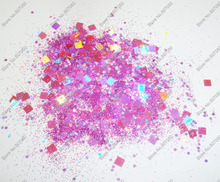 50gram x Mixed Laser Colors(Glitter Powder+Hexagon+Square) Paillette Spangles Shape for DIY Nail Art Decoration&Glitter Crafts