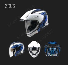 multipurpose ZEUS white blue double lenses motocross motorcycle helmet ZS-613B off road motorbike helmets made of ABS 7colors(China)