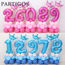 24pcs Baby Shower Foil Polka Dot Latex Balloons 30inch number balloon Child 0-9 year old Birthday Party Decor Stand Set globos