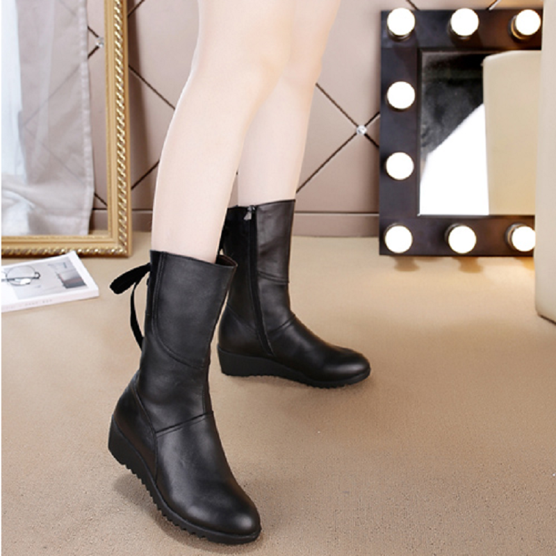 Women Mid Calf Boots Round Toe Platform Shoes Slip On Thick Heels Shoes Tassel 2 Colors Hot Antiskid Wedges Autumn Winter Boot<br><br>Aliexpress