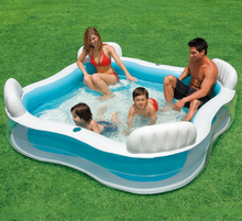 Outdoor Inflatable 4 Back-seats Family Pool for Adult Kids Summer Learning Swimming Playing Game Above Ground Pool 229*229*66CM