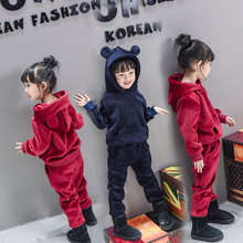 children winter clothes boys girls clothing sets solid add wool sweatshirts+pant soft handle cute lovely design kids suits 201