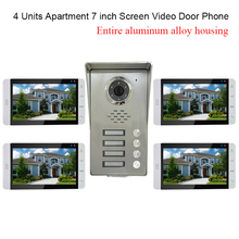 "4 Units Apartment intercom system Video Door Phone Intercom Kit all Aluminum Alloy Camera 7"" LCD Touch Monitor video Doorbell"
