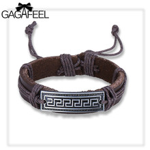 GAGAFEEL Men's Bracelet Bangles Brown Color Pure Leather Punk Lace Up Chain Boy's Bangle With Great Wall Pattern Design Dropship