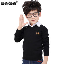 WEONEDREAM New Boys Winter Autumn 8 Colors Solid Sweater Baby Boy Clothes Casual V Neck Sweater Children Clothing Outerwear(China)