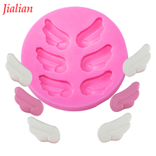 Jialian Angel wings Christmas wedding decoration Silicone Mould Fondant Sugar Bow Craft Molds DIY Cake baking tools FT-0131