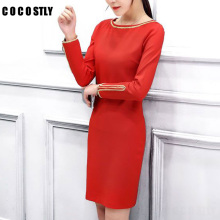 Elegant Vintage Fitted Women Dresses Stretch Long Sleeve Office Dresses Lady Clothes Business Sheath Pencil Dress