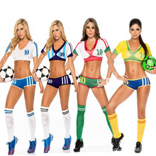 free pp 2017 Football Baby Costume Sexy Cheerleading Cloth Women Football Sexy Sports costumes Germany Argentina Spain Brazil(China)
