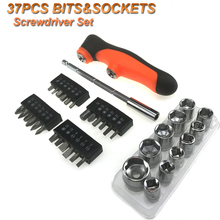 Free Shipping 32pcs Slot Hex Torque Wrench Portable a set of Screwdriver Set Bits Hand Toolbox Screwdriver attachment AD1045
