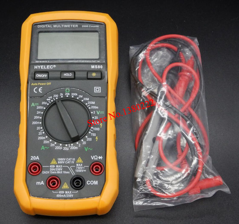 HYELEC MS80 Ammeter Multitester Multifunction Digital Multimeter 2000Counts/ Multimetro LCR Meter Data Hold,Backlight,Auto Range<br><br>Aliexpress