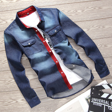 Hot sale Shirt Cowboy Men 2017 Summer New male Long Sleeve Shirt Boy Blue Fashion Business Casual Clothing Hot Top Size S-3XL(China)