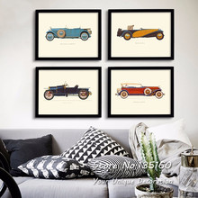 Classic Cars Canvas Art Vintage Room Decor Multi Panel Carts Wall Pictures Oil Painting On Canvas Living Room Office No Frame