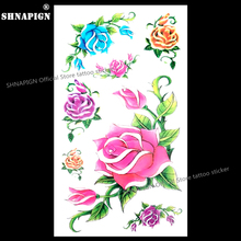 SHNAPIGN Blue Pink Yellow Rose Temporary Tattoo Body Art Arm Flash Tattoo Stickers 17*10cm Waterproof Fake Henna Painless