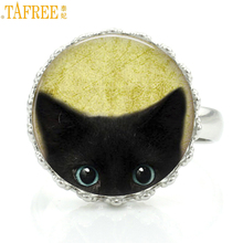 TAFREE handmade fashion antique tone black cat crown rings vintage animal art cat lovers gifts ring jewelry for men women NS137