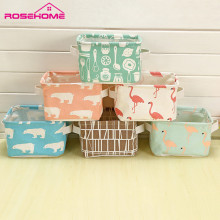 ROSEHOME Desktop Storage Boxes Cotton Orgnazaier Toy Boxes Cartoon Flodable Cosmetic Box  Fabric Holder for Bedroom Bathroom
