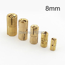 4pcs 8mm Brass Barrel Hinge Cylindrical Hidden Cabinet Hinges Concealed Invisible Mortise Mount Hinge(China)