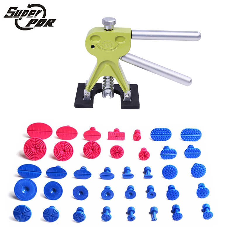 PDR dent puller Dent Repair Tools Set 1 pcs green smile face dent lifter 38pcs glue tabs dent removal hand tools<br>