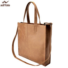 ADIYATE Brown Leather Shoulder Bags Cheap Women O Bags Big Shopping Handbag Sac De Plage Pochete Bolsa Feminina Office Bolsa