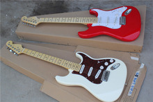 free shipping Top quality New Arrival stratocaster Guitar white and red Electric Guitar Real photo maple fingerboard 1117(China)