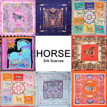 100% Silk Scarf Women Scarf Horse Scarf 2017 Foulard Neckerchief Top Silk Bandana Small Square Silk Scarf Horse Luxury Lady Gift