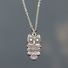 NK775 New Cheap Men Bijoux Love Vintage Silver Plated Small Owl Pendants Necklace For Women Chain Jewelry Gift collier