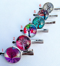 12pcs Tree of Life Glass Cabochon Hairwears glass barrette Handcrafted Art Glass Cartoon clip