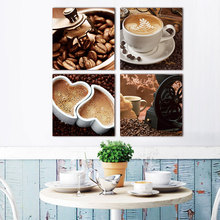 canvas painting 4 Piece canvas art Coffee Kitchen modern abstract painting wall pictures for living room decoration unframed(China)