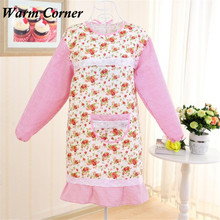2017 New Arrivals Christmas Woman Waterproof Long Sleeve Rose Aprons Home Kitchen Apron Pinafore Free Shipping Sept 29