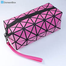 "Doreen Box Polyester Cosmetic Makeup Bags Cosmetic Rectangle Black & White Grid Checker Pattern 19.5cm(7 5/8"") x 9cm(3 4/8"")(China)"