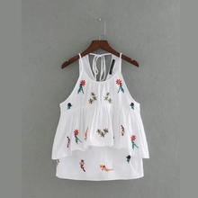 2017 Fashion Women Flower embroidery Laminated decoration vest T-shirt Summer style Casual Loose Tops camiseta feminina T691