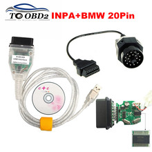 Newest FTDI FT232RL For BMW INPA K+DCAN USB Compatible Interface K CAN For BMW Series INPA Fist BMW 20Pin OBD OBD2 Code Reader