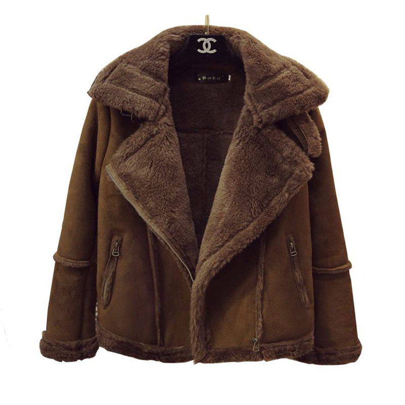 deerskin lambs wool coat female 2017 autumn and winter locomotive big lapel thicker cotton jacket coatsОдежда и ак�е��уары<br><br><br>Aliexpress