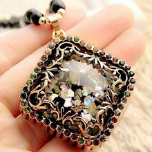 Shells A cat's-eye Woman long Sweater chain Accessories Retro Pendant Decorative Necklace YH