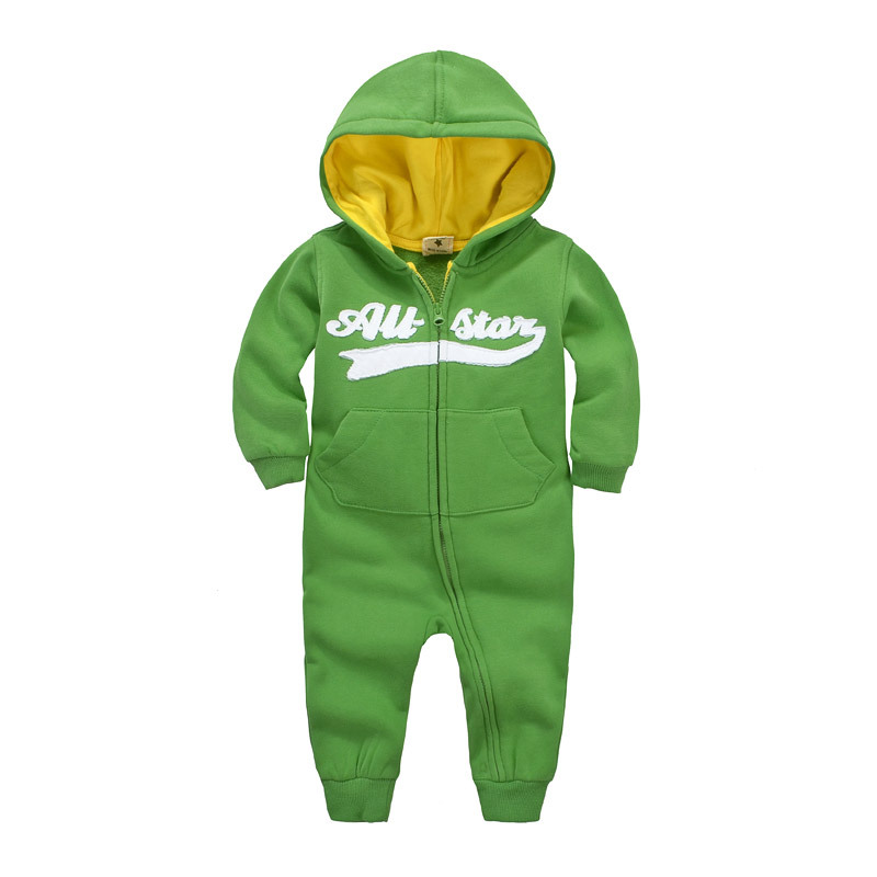 2017 hot autumn winter Baby Girls baby boys Hooded Microfleece Jumpsuit, brand fleece lining Baby Girls and boys Rompers clothes<br><br>Aliexpress