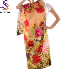 Women Red Silk Scarf Fashion China Style Pure Silk Scarf Shawl Elegant Formal Peony Flower Pattern Long Scarf  For Autumn Winter
