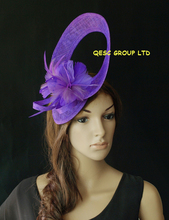 Wholesale Exclusive designs Sinamay Fascinator hat w/feather for Melbourne cup,Kentucky derby,wedding,party,purple,orange(China)