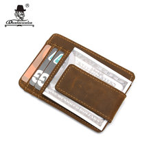 DIOULAORENTOU Women Small Money Card Wallet Vintage Crazy Horse Men Leather Wallet Id Badge with Money Hasp for Credit Cards(China)