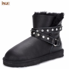 INOE fashion genuine sheepskin leather short ankle winter snow boots for women with buckle strap natural fur lined winter shoes