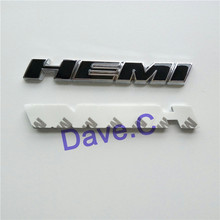 2 Piece/lot Car Hemi Black Emblem ABS Custom Chrome 3D Letter Sticker Auto Nameplate Badge Decal