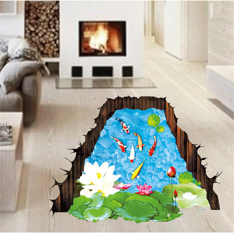 YOLALA Creative 3D Fishpond Floor Sticker Novelty Living Room Tile Decal Removable Goldfish Lotus Waterproof Home Decoration(China (Mainland))