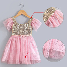 Girls Christmas Dress Summer Kids Clothes Sequin Petal Sleeve Party Cotton Lace Baby Girls Dress Toddler Girl Clothing NEW