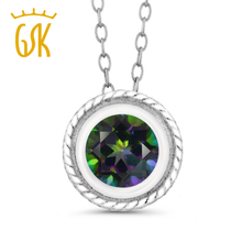 Collection jewelry women pendant necklaces 1.00 Ct Round Shape Mystic Topaz 925 Silver Pendant natural gemstone chain(China)