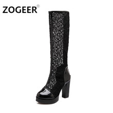 Plus Size 43 New 2016 Women Boot Sexy Thick High Heels Cutout Lace Uppers Knee High Summer Boots Round Toe Platform Party Shoes