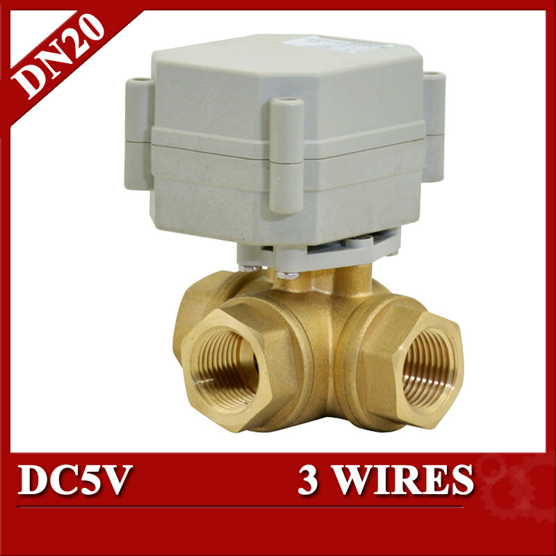 3/4 motorized ball valve 3 wires, 3 way horizontal type electric valve DC5V  for brewing system<br>