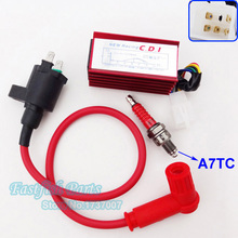 Red Racing Ignition Coil & 5 pin AC CDI & A7TC Spark Plug For Pit Dirt Bike ATV Quad Motorcycle Motocross(China)