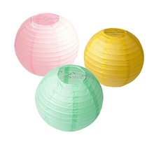 Set of 6 Mixed 2 Sizes Yellow Pink Mint Chinese Paper Lantern Lampshade for Wedding Birthday Party Festival Holiday Supplly