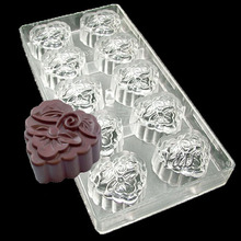 Special Flower Heart Moon Cake shaped 3 D Plastic Hard Inject Polycarbonate PC Chocolate Mold Jelly Candy Mould
