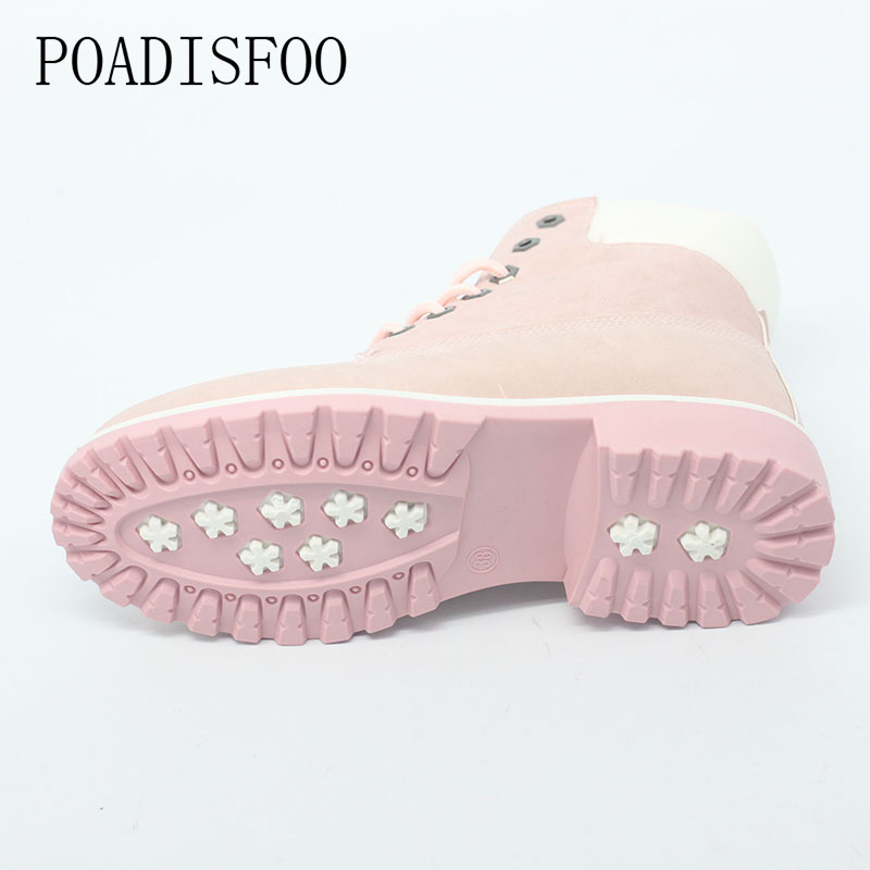 POADISFOO 2017 winter Martin boots women female student all-match boots children Round teo Ankle boots ladies work shoes  .xz-07